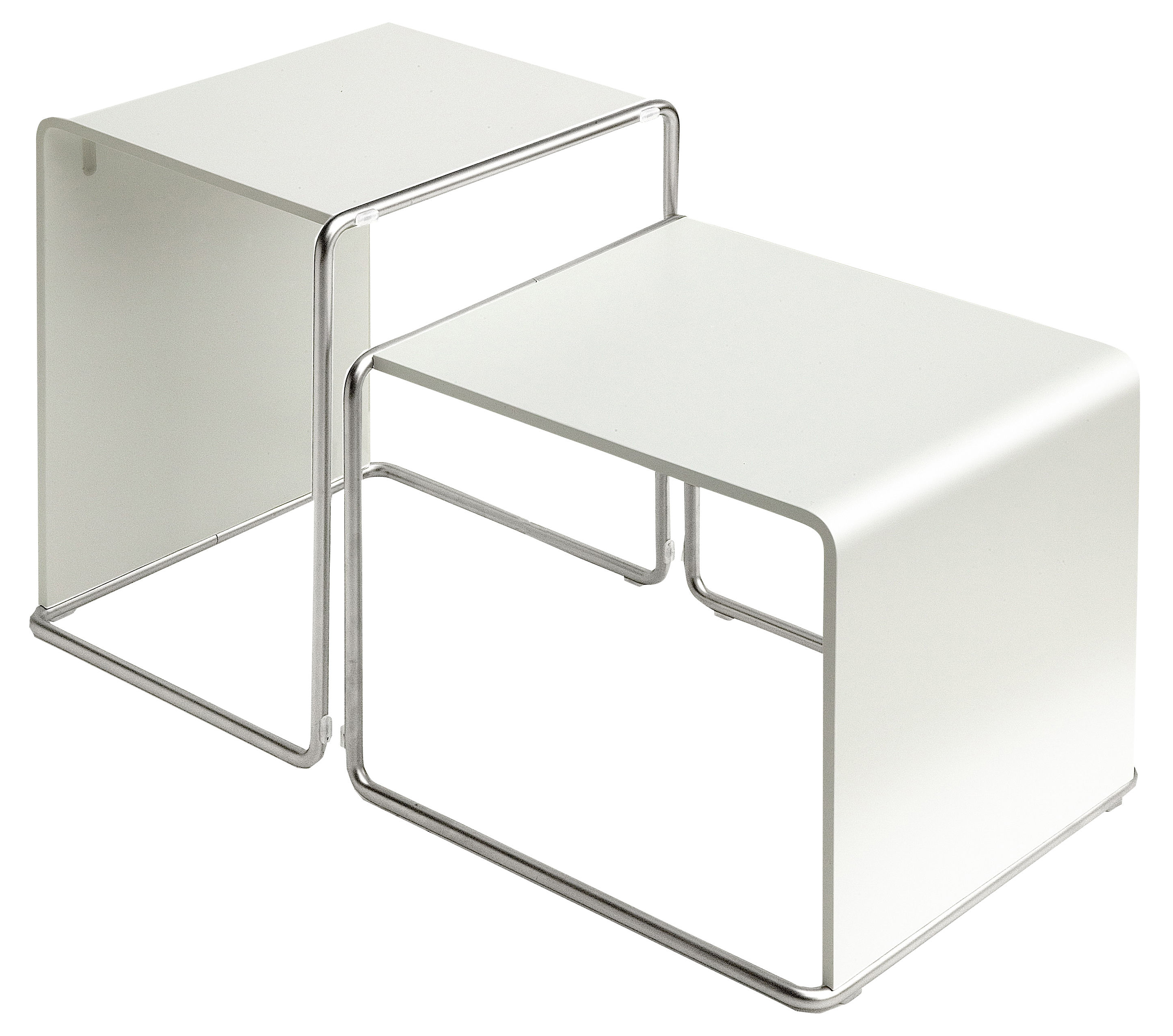 Furniture - Coffee Tables - Ueno End table by Lapalma - Laquered white - Lacquered oak, Sandy stainless steel