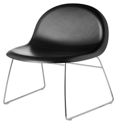 Mobilier - Fauteuils - Fauteuil bas 3D H 40 cm - Piètement luge - Coque hêtre teinté - Gubi - Noir / Piètement chromé - Acier chromé, Hêtre teinté