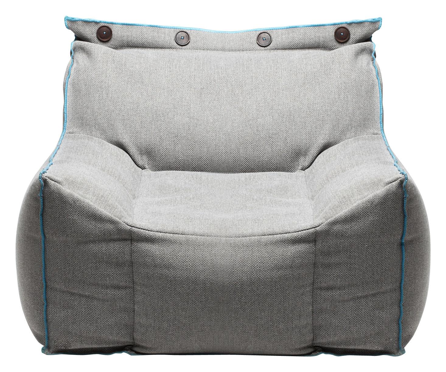 Mobilier - Fauteuils - Fauteuil Frolla tissu - Pour l'intérieur - Skitsch - Tissu gris & liseré bleu - Fibre de polyester, Tissu