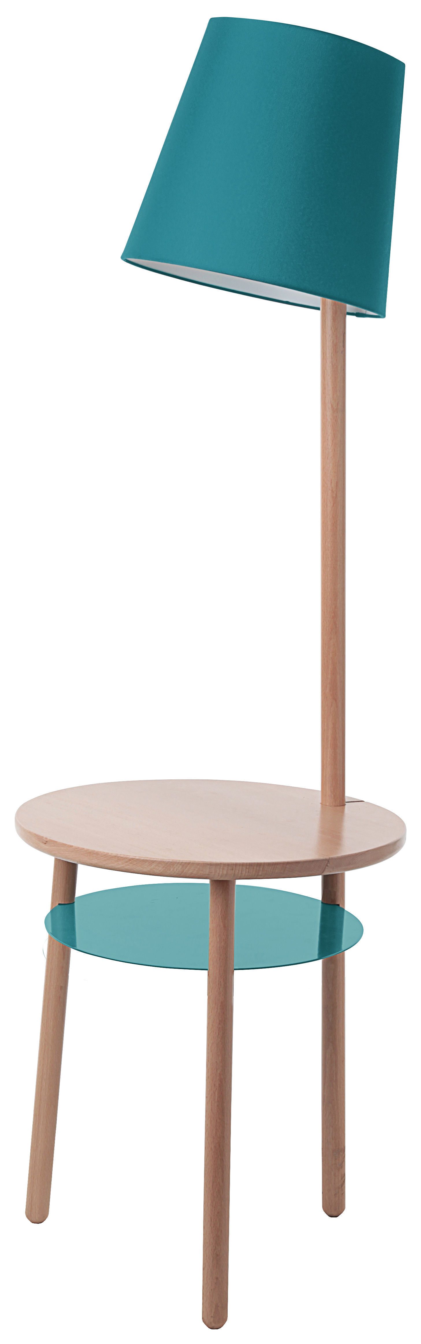 Furniture - Coffee Tables - Josette Floor lamp by Hartô - Aqua blue - Cotton, Lacquered metal, Natural beechwood