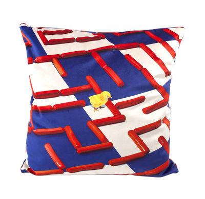 Toiletpaper Kissen / Labyrinth - 50 x 50 cm - Seletti - Weiß,Blau,Rot
