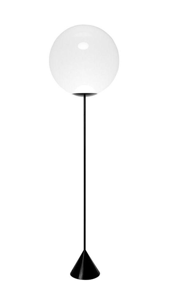 Luminaire - Lampadaires - Lampadaire Opal Cone LED / H 180 x Ø 50 cm - Tom Dixon - Noir & blanc opalescent - Acier laqué, Fibre de carbone, Polycarbonate opalescent soufflé