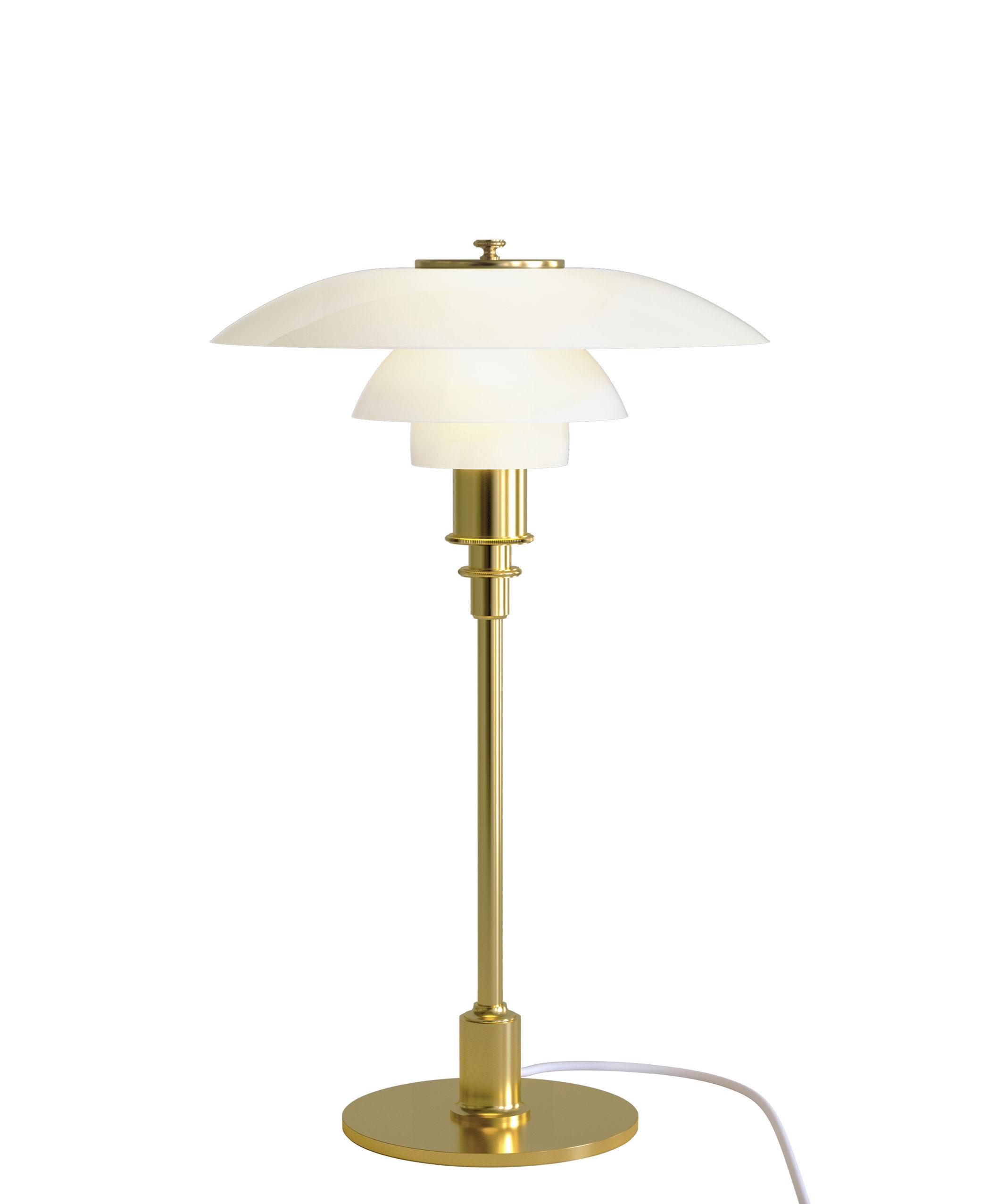 Luminaire - Lampes de table - Lampe de table PH 3/2 / Verre & laiton - 1927 - Louis Poulsen - Blanc / Laiton - Laiton, Verre soufflé bouche