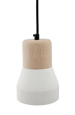 Cement Wood Pendelleuchte / Ø 13 cm - Spécimen Editions - Weiß,Holz natur