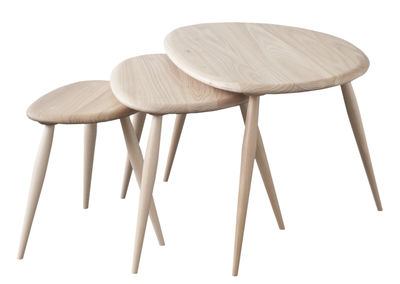 Möbel - Couchtische - Originals Satz-Tische / 3er-Set - Neuauflage des Originals aus den 1950er Jahren - Ercol - Ulme - massive Buche, Orme massif