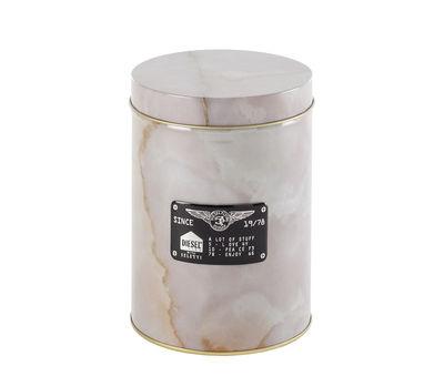 Küche - Dosen, Boxen und Gläser - Alumarble Round Schachtel / Metall in Marmoroptik - Diesel living with Seletti - Rund / hellrosa - Metall