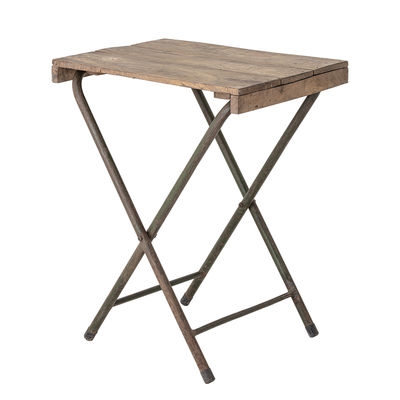 Furniture - Coffee Tables - Small folding table - / Recycled wood - 67 x 50 cm by Bloomingville - Wood / Rust - Iron, Recycled wood