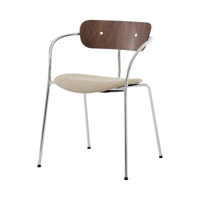 Furniture - Chairs - Pavilion AV4 Stackable armchair - / Lacquered walnut by &tradition - Lacquered walnut/ Vidar 333 - Fabric, Foam, Steel, Walnut