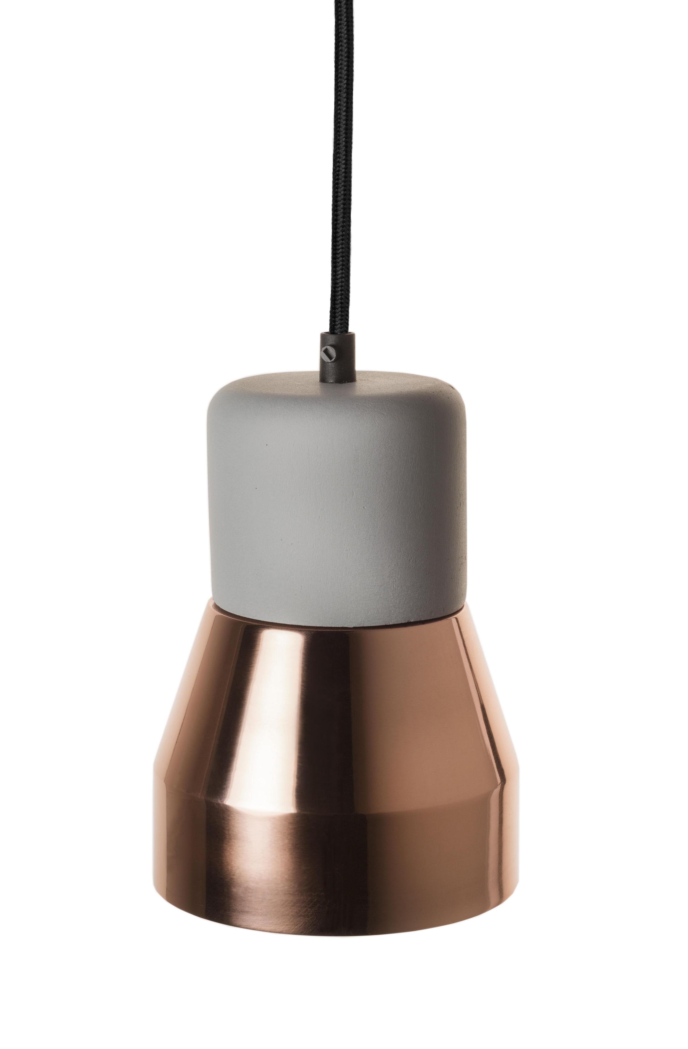 Luminaire - Suspensions - Suspension Steel Wood S / Béton & métal brillant - Ø 13 cm - Spécimen Editions - Béton gris / Cuivre brillant - Béton, Métal peint