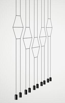 Suspension Wireflow / L 322 cm - Vibia noir en tissu