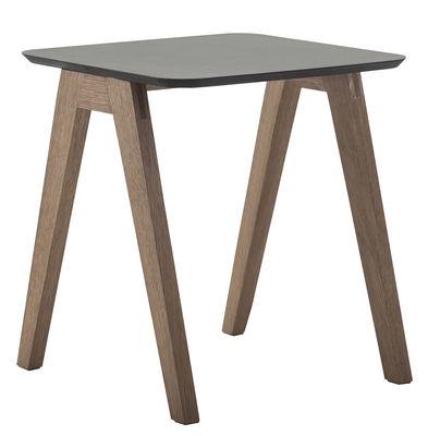 Mobilier - Tables basses - Table basse Monk / 50 x 50 cm - Prostoria Ltd - Piètement chêne / Noir - Chêne, Contreplaqué, Linoléum