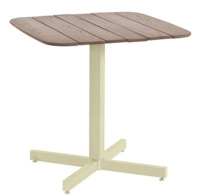 Table carrée Shine / 79 x 79 cm - Emu taupe,teck en métal