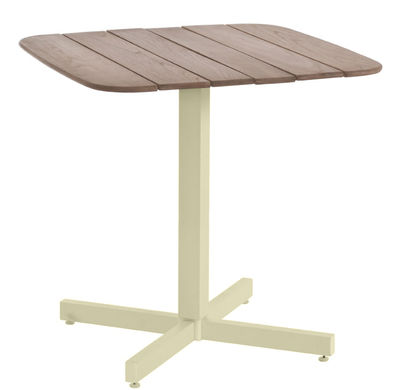 Table carrée Shine / 79 x 79 cm - Emu marron/beige en métal/bois