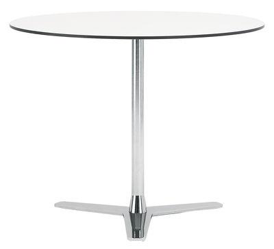 Mobilier - Tables - Table Propeller / Ø 90 cm - Offecct - Blanc / pied chromé - Acier chromé, Stratifié compact