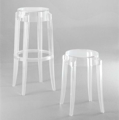 Tabouret Haut Empilable Charles Ghost Kartell Blanc Opaque H 75
