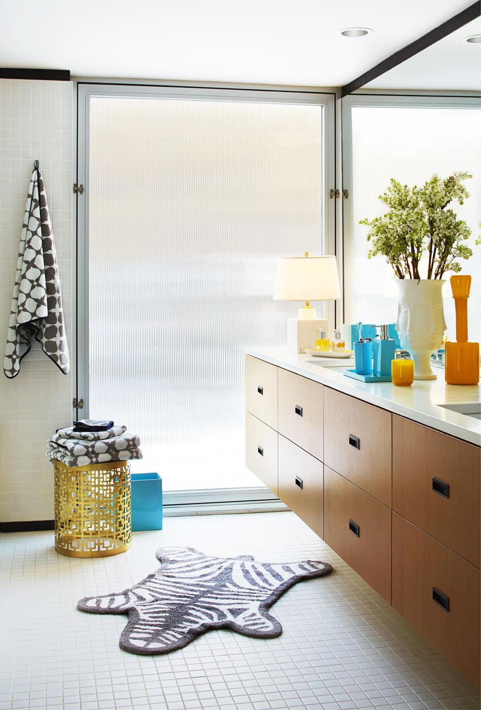 Tappeto sala da bagno zebra di jonathan adler bianco for Sala da bagno design