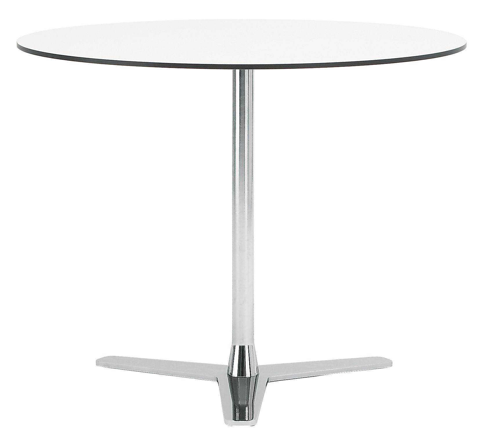 Arredamento - Tavoli - Tavolo rotondo Propeller di Offecct - Bianco / Piede cromato - Acciaio cromato, Stratificato compatto