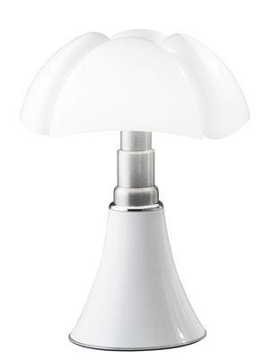 Leuchten - Tischleuchten - Pipistrello Medium LED Tischleuchte / H 50 cm bis 62 cm - Martinelli Luce - Weiß / Lampenschirm: weiß - galvanisierter Stahl, lackiertes Aluminium, Opal-Methaclyrat