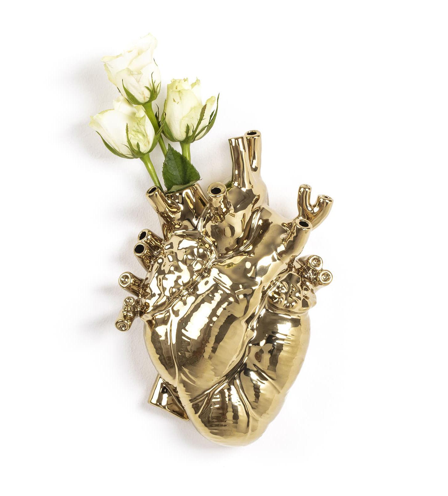 Déco - Vases - Vase Love in Bloom / Coeur humain - Seletti - Or - Porcelaine peinte