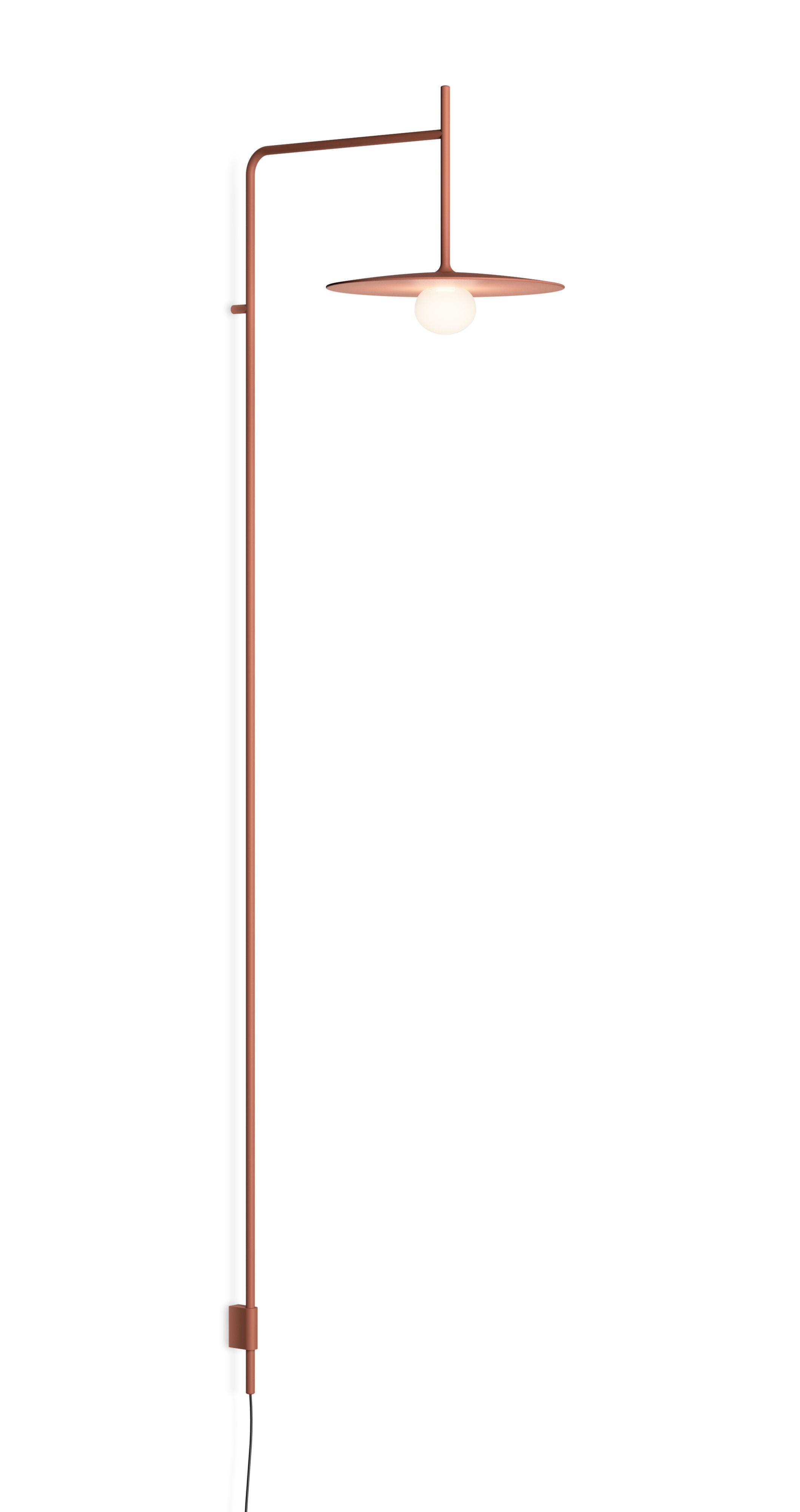 Leuchten - Wandleuchten - Tempo Disque Wandleuchte mit Stromkabel / LED - feststehender Arm L 42,5 cm - Vibia - Terrakotta - geblasenes Glas, lackierter Stahl, lackiertes Aluminium
