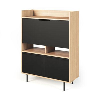 Furniture - Office Furniture - Holmes Writing desk - / L 104 x H 138 cm by POP UP HOME - Oak & black - chipboard panels, MDF, Oak veneer