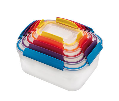 Kitchenware - Kitchen Storage Jars - Nest Lock Airtight box - / Stackable set of 5 - Various sizes by Joseph Joseph - 5 boxes / Multicoloured - BPA-free plastic