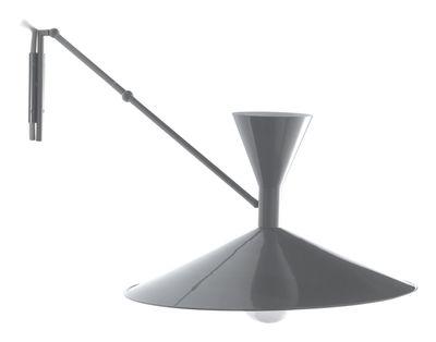Applique avec prise Lampe de Marseille by Le Corbusier / L 166 cm - Réédition 1954 - Nemo gris mat en métal