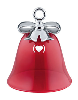 Decoration - Home Accessories - Dressed for X-mas - RED Bauble - RED epecial edition/ Blown glass & Bone China by Alessi - Red / Silver - Coloured blown glass, Painted porcelain