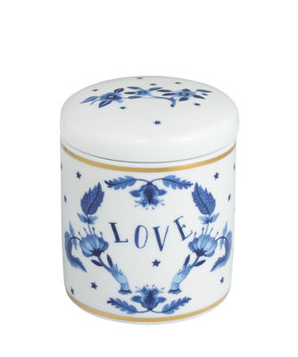 Bougie parfumée Love blu / Porcelaine - Bitossi Home blanc,bleu,or en céramique