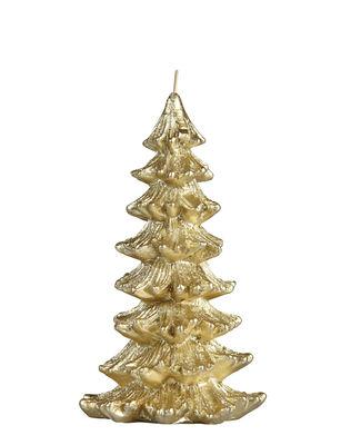 Bougie Sapin de Noël / Large - H 18,5 cm - & klevering doré en cire