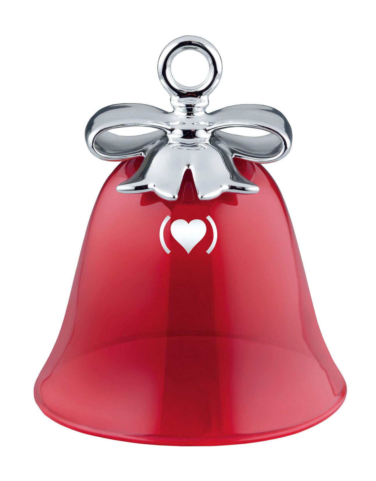 Déco - Objets déco et cadres-photos - Boule de Noël Dressed for X-mas - RED / Cloche - Edition spéciale - Alessi - Cloche / Argent & rouge - Porcelaine peinte, Verre soufflé coloré