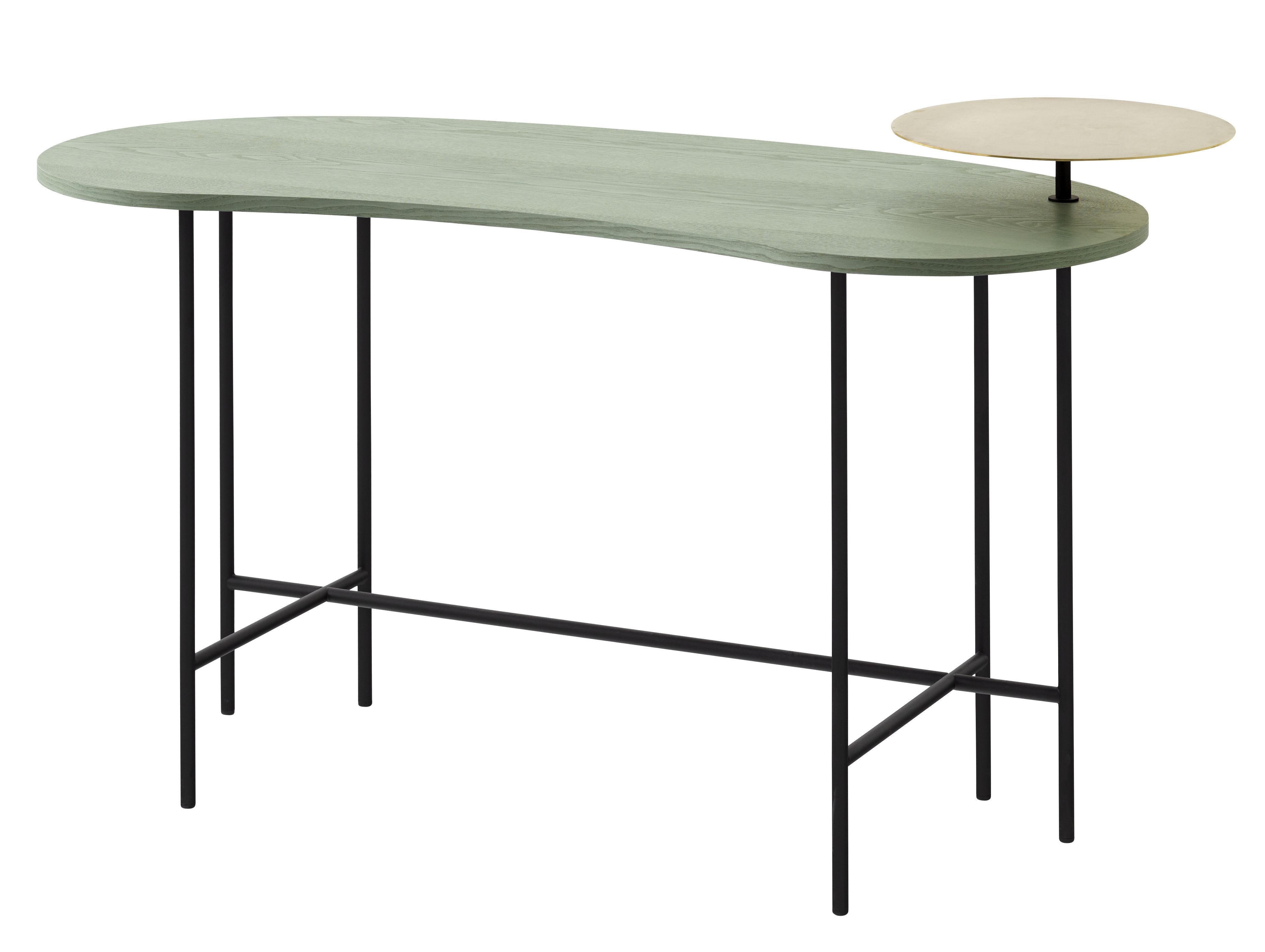 Mobilier - Bureaux - Bureau Palette JH9 / 2 plateaux - &tradition - Gris vert & laiton / Piètement noir - Acier laqué, Frêne, Laiton