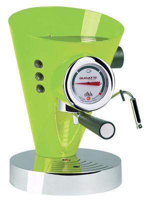 Cuisine - Electroménager - Cafetière expresso Diva / Pour dosettes et café moulu - Bugatti - Vert / socle chromé - Aluminium