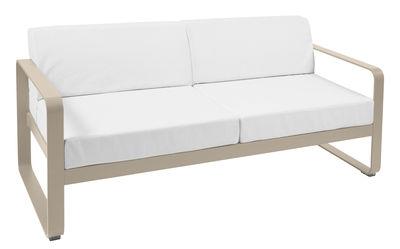 Canapé droit Bellevie 2 places / L 160 cm - Tissu blanc - Fermob blanc,muscade en métal