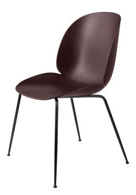 Mobilier - Chaises, fauteuils de salle à manger - Chaise Beetle / Gamfratesi - Pieds noirs - Gubi - Bordeaux / Pieds noirs - Acier laqué, Polypropylène