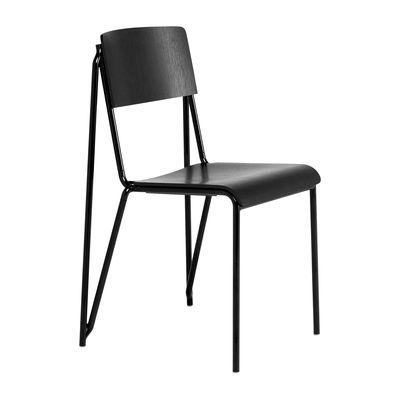Chaise empilable Petit standard / Acier & bois - Hay noir en bois