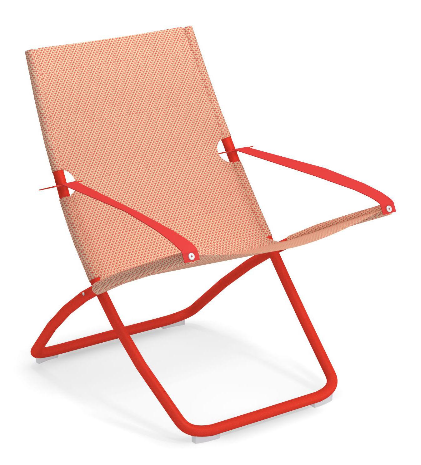 Outdoor - Chaises longues et hamacs - Chaise longue Snooze / Pliable - 2 positions - Emu - Pêche / Structure rouge - Acier verni, Tissu technique
