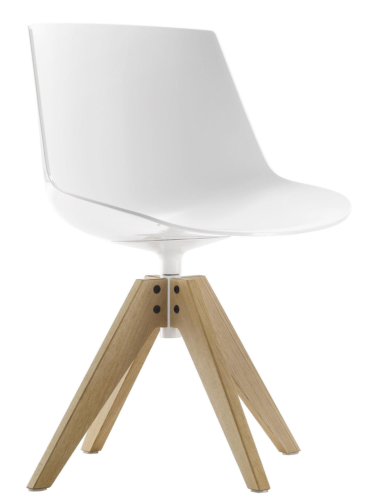 Mobilier - Chaises, fauteuils de salle à manger - Chaise pivotante Flow / 4 pieds VN chêne - MDF Italia - Blanc / Piètement chêne - Chêne massif, Polycarbonate