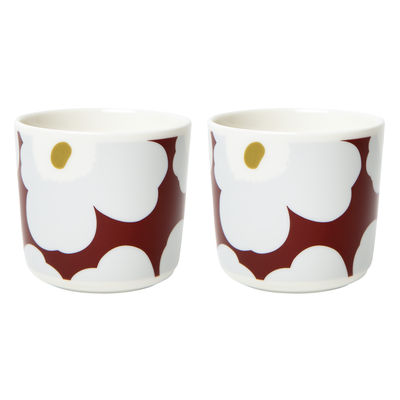 Tableware - Coffee Mugs & Tea Cups - Unikko Coffee cup - / Without handle - Set of 2 by Marimekko - Unikko / Red, grey, olive - Sandstone