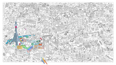 Coloriage Omy.Xxl Paris Colouring Poster Giant L 180 X 100 Cm By Omy Design Play