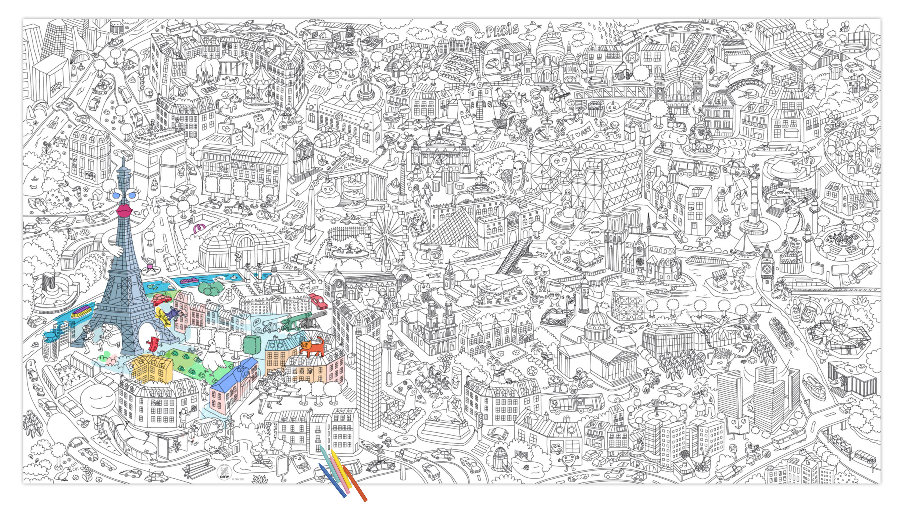 Decoration - Children's Home Accessories - XXL Paris Colouring poster - / Giant - L 180 x 100 cm by OMY Design & Play - Black, White - Paper