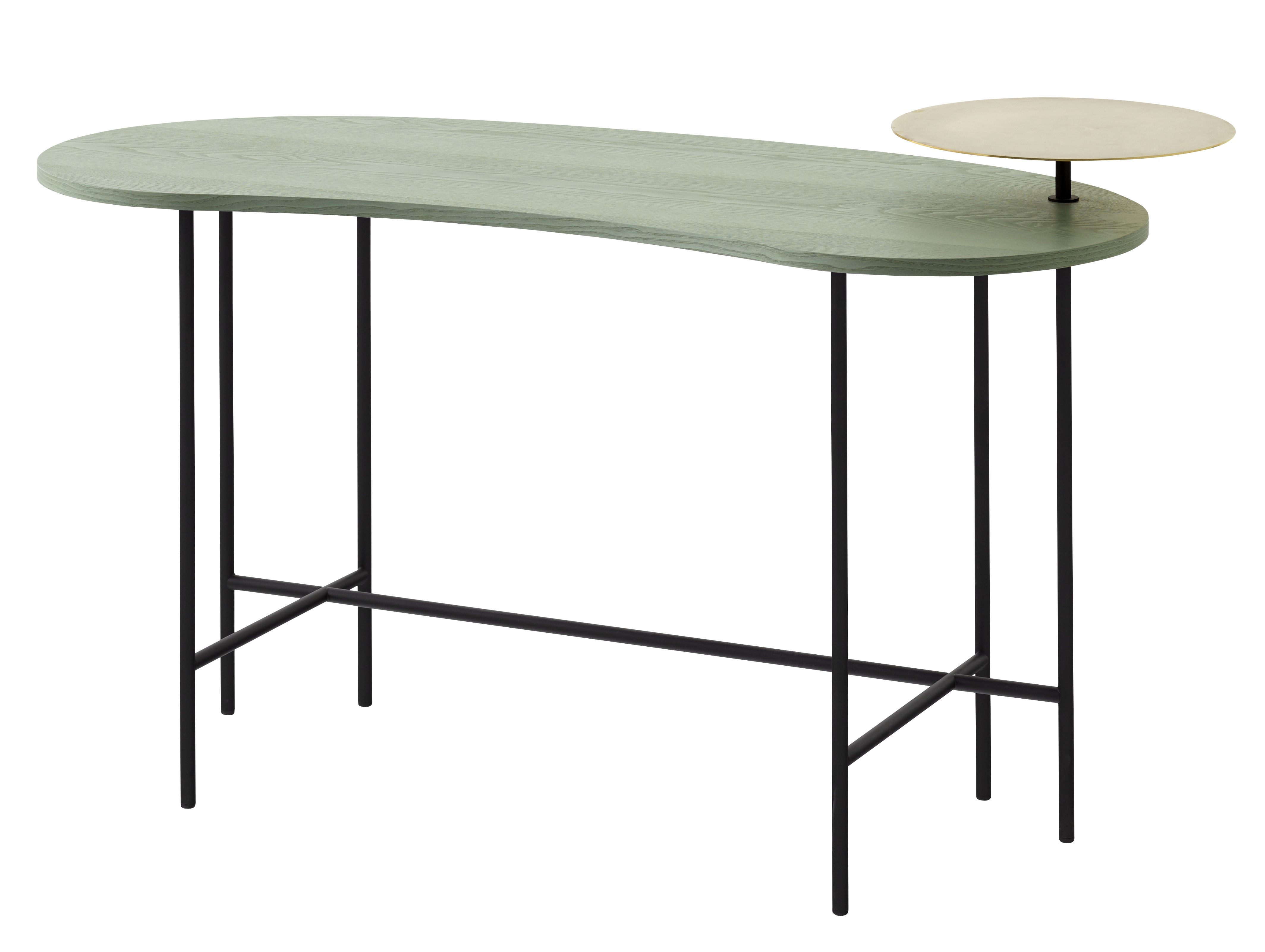 Furniture - Office Furniture - Palette JH9 Desk - 2 tops by &tradition - Grey green / Brass / Black feet - Ashwood, Brass, Lacquered steel