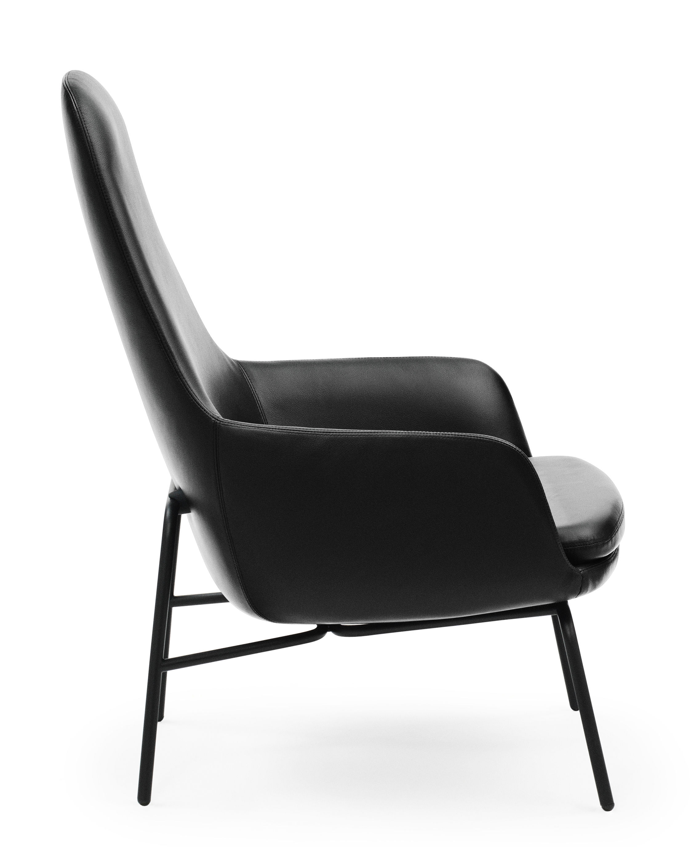 fauteuil era dossier haut cuir m tal cuir noir pieds noirs normann copenhagen. Black Bedroom Furniture Sets. Home Design Ideas