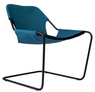 Mobilier - Fauteuils - Fauteuil Paulistano Outdoor / Pour l'extérieur - Objekto - Bleu / Structure noire - Carbone, Coton