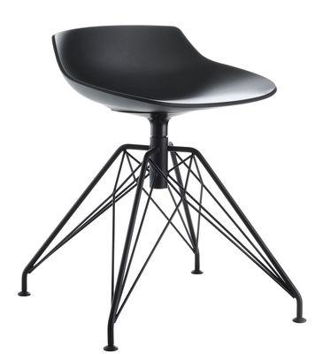 Möbel - Hocker - Flow Hocker H 44 cm / 4 Stuhlbeine aus Stahldraht - MDF Italia - Schwarz / Fußgestell graphitgrau - bemalter Stahl, Polyurhethan