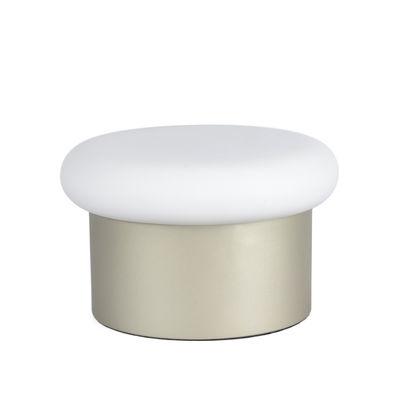 Luminaire - Lampes de table - Lampe de table Colonna / Verre & acier -  Ø 25 x H 15 cm - ENOstudio - Champagne / Blanc - Acier, Verre soufflé