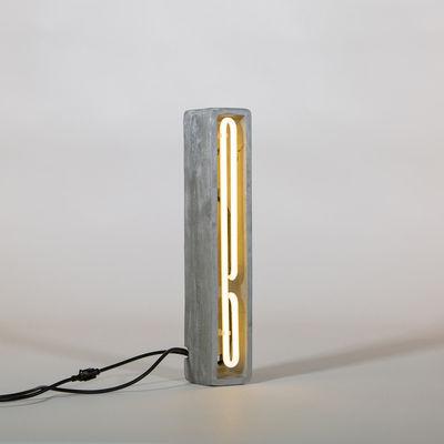 Lampe de table Néon Alphacrete / Lettre I - Intérieur / extérieur - Seletti blanc,gris en pierre