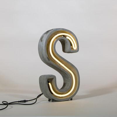 Lampe de table Néon Alphacrete / Lettre S - Intérieur / extérieur - Seletti blanc,gris en pierre