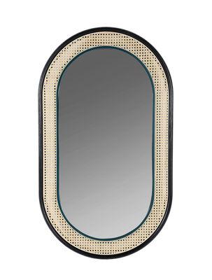 Déco - Miroirs - Miroir mural Grâce / 120 x 70 cm - Cannage & bois - Maison Sarah Lavoine - Rotin naturel, noir & bleu - Cannage de rotin, Chêne laqué, Verre