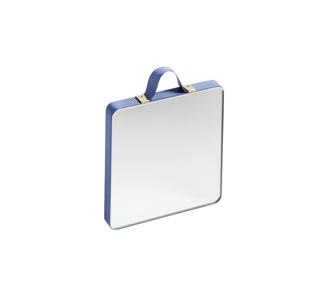 Déco - Miroirs - Miroir mural Ruban XS / 8,5 x 8,5 cm - Hay - Bleu - Contreplaqué de chêne, Laiton, Tissu polyester, Verre